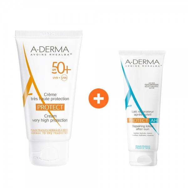 A-derma Protect Creme - Tres Haute Protection SPF50+ για Κανονικό & Ξηρό δέρμα 40ml & ΔΩΡΟ Protect AH - Repairing Lotion After-Sun 100ml