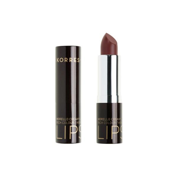Korres Morello Creamy Lipstick No 34 Καφέ Μόκα, Σταθερό-Λαμπερό Αποτέλεσμα 3,5gr