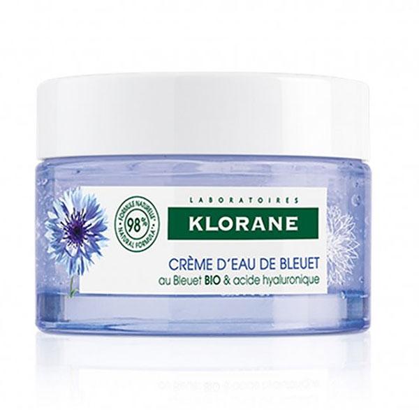 Klorane Cornflower Water Cream & Hyaluronic Acid, Ενυδατική Κρέμα Ημέρας Πρoσώπου & Λαιμoύ 50ml