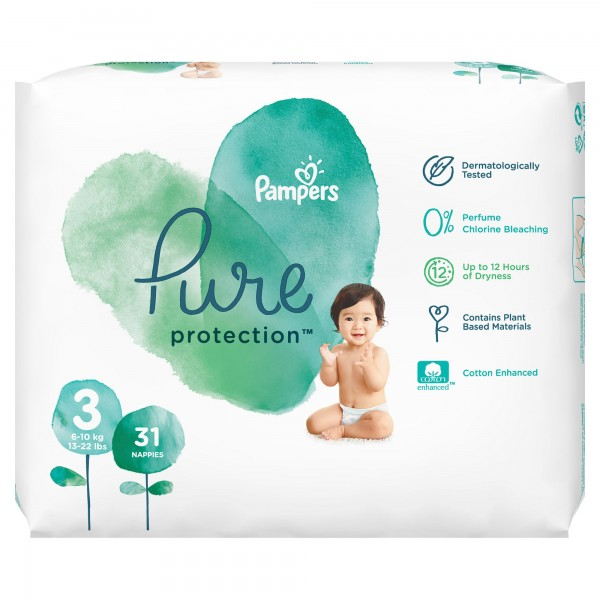 Pampers Pure Protection Πάνες Νο 3 (6-10Kg) 31 τμχ